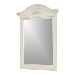 American Woodcrafters - Summerset Arch Top Vertical Mirror in Painted White Finish - A delicate floral bouquet adorns our Summerset mirror along with a wide frame and bold yoke-style crest. It makes a beautiful pairing with the matching dresser for any girl's traditional decor. The white finish is refreshing while adding to its feminine appeal. Summerset Collection. 1-Year manufacturer's warranty. Mirrors feature beveled glass with mirror supports. 32.5 in. W x 2.63 in. D x 43.75 in. H (42.90 lbs.)