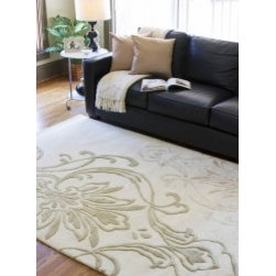 EcoFirstart.com - Designer Style 9' x 13' Rectangle Rug from Modern Classics Collection.100% New Zealand Wool Cotton Canvas Backing and Latex, Modern Classics. Rug is Ivory with taupe and mushroom accents.