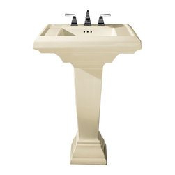 """American Standard - American Standard 0780.800.222 Town Square Pedestal Sink, Linen - American Standard 0780.800.222 Town Square Pedestal Sink, Linen. This pedestal sink set features a classic American design with it's clean, straight lines and ogee curves. It has a fireclay construction, a rear overflow, and a supplied mounting kit. This model measures 27"""" by 21-1/4"""", with a 6-1/2"""" bowl depth, and 8"""" centered faucet mounting holes."""