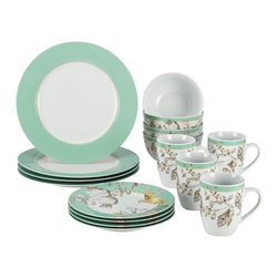BonJour - BonJour Fruitful Nectar�16-piece Porcelain Dinnerware Set - Bring the beautiful colors of the garden indoors with the Fruitful Nectar dinnerware set. Crafted with porcelain,this graceful,dishwasher-safe set features service for four and is suitable for both parties and everyday use.