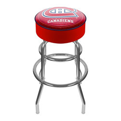 Trademark Global - Bar Stool w Padded Seat & NHL Montreal Canadi - A generously padded vinyl seat enhances this striking Montreal Canadians bar stool, a perfect way to show your support for your favorite hockey team. The stool has a chrome colored metal base and features a commercial grade vinyl seat with the officially licensed team logo. Adjustable levelers. Long lasting officially licensed NHL team logo. Great for gifts and recreation decor. 7.50 in. High padded seat. 30 in. High bar stool great for bar pub table and bars. Commercial grade vinyl seat. Chrome plated double rung base. 14.75 in. W x 14.75 in. D x 30 in. H (17 lbs.)This National Hockey League Bar Stool will be the highlight of your bar and game room.