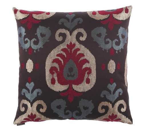 Silver Nest - Burgundy Drop Down Pillow- 24x24 - These pillows are constructed of heavyweight, durable and quite stunning fabric. Unfortunately the fabric content and laundry care are not provided by the manufacturer. You will just have to trust us that you are going to fall in LOVE with this pillow! A feather down insert is included with each pillow so there is no need to go hunting around for the correct size insert. Pillows come packaged in a set of two- all ready to toss on the sofa, loveseat, chair, bed, floor… wherever you need that pop of color and design! Price is noted for a single pillow, however pillows must be sold in a set of 2.
