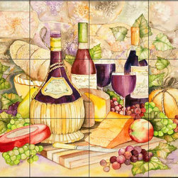 The Tile Mural Store (USA) - Tile Mural - Kathy Chianti  - Kitchen Backsplash Ideas - This beautiful artwork by Kathleen Parr McKenna has been digitally reproduced for tiles and depicts a nice wine and grape scene.  Our decorative tiles with wine are perfect to use for your kitchen backsplash tile project. A wine tile mural adds elegance and interest to your kitchen wall tile area and makes a wonderful kitchen backsplash idea. Pictures of wine on tiles and images of wines bottles on tiles and wine glasses on tiles is timeless and these decorative tiles of wine blend with any decor. Your kitchen will come to life with a tile mural featuring wine.