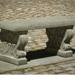 Campania International - Campania International Classic Garden Cast Stone Backless Garden Bench - BE-115- - Shop for Benches from Hayneedle.com! About Campania InternationalEstablished in 1984 Campania International's reputation has been built on quality original products and service. Originally selling terra cotta planters Campania soon began to research and develop the design and manufacture of cast stone garden planters and ornaments. Campania is also an importer and wholesaler of garden products including polyethylene terra cotta glazed pottery cast iron and fiberglass planters as well as classic garden structures fountains and cast resin statuary.Campania Cast Stone: The ProcessThe creation of Campania's cast stone pieces begins and ends by hand. From the creation of an original design making of a mold pouring the cast stone application of the patina to the final packing of an order the process is both technical and artistic. As many as 30 pairs of hands are involved in the creation of each Campania piece in a labor intensive 15 step process.The process begins either with the creation of an original copyrighted design by Campania's artisans or an antique original. Antique originals will often require some restoration work which is also done in-house by expert craftsmen. Campania's mold making department will then begin a multi-step process to create a production mold which will properly replicate the detail and texture of the original piece. Depending on its size and complexity a mold can take as long as three months to complete. Campania creates in excess of 700 molds per year.After a mold is completed it is moved to the production area where a team individually hand pours the liquid cast stone mixture into the mold and employs special techniques to remove air bubbles. Campania carefully monitors the PSI of every piece. PSI (pounds per square inch) measures the strength of every piece to ensure durability. The PSI of Campania pieces is currently engineered at 