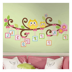 York Wallcoverings - Scroll Tree Owls Letter Branch Self-Stick Wall Accent Set - Features: