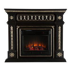 SEI - Donovan Electric Fireplace - Black - This electric fireplace is the definition of stately! The painted black finish and beautiful, hand-painted gold accents produce a sense of elegance and world travel - an instant must have. To top it off, this fireplace requires no electrician or contractor for installation, allowing for instant remodeling without the usual mess or expenses. This fireplace features hand-carved rosettes and ornate details. The French influences and Victorian-esque elements of the design make it a beautiful focal point in any room. The electric fireplace insert requires no permanent wiring or ventilation - simply plug it into any wall outlet and enjoy the romance of a realistic fireplace. The electric insert features realistic flickering flames and glowing embers - brightness of each can be adjusted with a simple push of a button. In addition to adjusting the thermostat, the electric fireplace also offers the option of using with or without heat for year-round enjoyment. Convenience and ease of assembly are just two of the reasons why this fireplace is perfect for your home. The ornate, elegant style of this fireplace works well in traditional and transitional homes. This handsome fireplace is great for the living room and bedroom, and even adds a warm, romantic touch to the dining room or home office. Let this portable fireplace give your home a more welcoming and enjoyable atmosphere.