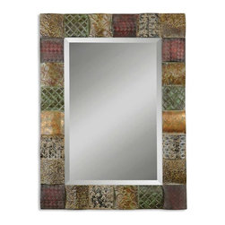 "Uttermost - Uttermost Ganya Mirror - This decorative mirror features hand embossed sheet metal over convex wooden squares. Frame is finished in a combination of rust brown, sage green, aged white, antiqued gold and mahogany. Mirror features a generous 1 1/4"" bevel. May be hung either horizontal or vertical."