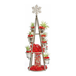 luludi living frames - Luludi Living Frames Snowflake , Berries - Our snowflake terrarium tower is a festive living centerpiece for any holiday event. A silvery snowflake sits atop a metal stand stacked with easy care air plants and red reindeer moss nestled inside miniature cups. At the base are clusters of real red holly berries surrounding and topping a slim glass vase filled with clear glass balls and red berries