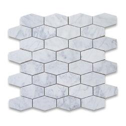 Stone Center Corp - Carrara Marble Elongated Hexagon Mosaic Tile Honed - Premium Grade White Carrara Marble Long Hexagon Mosaic tiles. Italian Bianco Carrera White Venato Carrara Honed 1-1/4x3 inch Elongated Hex Mosaic Wall & Floor Tiles are perfect for any interior/exterior projects. The Carrara White Marble Oblong Hexagon Mosaic tiles can be used for a kitchen backsplash, bathroom flooring, shower surround, countertop, dining room, entryway, corridor, balcony, spa, pool, fountain, etc.