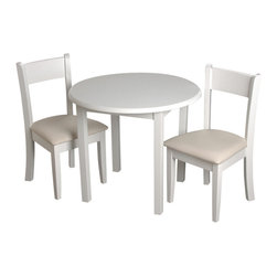 Gift Mark - Gift Mark 13004W Childrens White Round Table with 2 Matching Upholstered Chairs - The Gift Mark round white stained table and 2 matching upholstered chair sets, with solid wood backs. The table is made of solid wood. These durable table and upholstered chairs will add a touch of sophistication to any child's room or play room. Intended specifically for your child. Children play for hours on end. Our solid wood table and chair sets clean easily with any high quality furniture polish. All materials are bpa free and phthalate free. All tools are included for easy assembly.