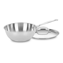 Cuisinart Chef's Classic Stainless 3 Qt. Chef's Pan - The kitchens of France were the inspiration behind the elegant Cuisinart Chef's Classic Stainless Cookware Collection. Destined to become a favorite  the streamlined chef_��s pan can easily handle 3 Qt.s of soup  stews  chilis and more.  Features stainless steel and pure aluminum encapsulated in the base for fast and even heating. Limited lifetime warranty.Product Features                          Premium Stainless Advantage mirror finish. Classic looks  professional performance.            Aluminum encapsulated base heats quickly and spreads heat evenly.             Stainless steel cooking surface does not discolor  react with food or alter flavors. Great for classic cooking techniques like slow simmers  rolling boils and reduction of liquids.             Cool Grip Handle  solid stainless steel riveted handle stays cool on the stovetop.            Dishwasher Safe            Premium stainless steel easily cleans to original brilliant finish.            Rim is tapered for drip-free pouring.            Constructed to Last            Limited Lifetime Warranty