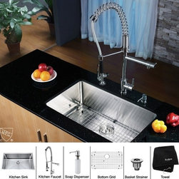Kraus - Stainless Steel Undermount Kitchen Sink Faucet / Dispenser - Add an elegant touch to your kitchen with unique Kraus kitchen combo