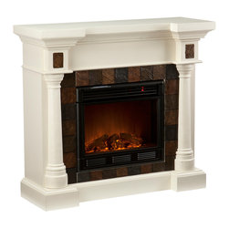 Holly & Martin - Weatherford Convertible Electric Fireplace, Ivory - Beautifully rustic, this antique ivory fireplace exudes character and style. Rounded columns on either side of the firebox are topped off with square tiles, adding cohesion to the design. The faux slate front has a stunning pattern of tiles that arch across the front creating a true masterpiece. This versatile fireplace is complete with a collapsible panel, making it easy to place against a flat wall or in a corner. Requiring no electrician or contractor for installation allows instant remodeling without the usual mess or expense. In addition to your living room or bedroom, try moving this fireplace to your dining room for romantic dinners or complement your media room with a vent less fireplace below your flat screen television. Use this great functional fireplace to make your home a more welcoming environment.