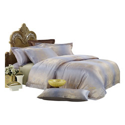 Dolce Mela - Jacquard Luxury Linens Duvet Covet Set Dolce Mela DM449, Queen - Goldfish jacquard motifs and calming earth tones complete the opulent presentation of a luxurious bedroom setting.