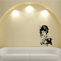 None - Japanese Geisha Girl with Flowers Black Vinyl Sticker Wall Decal - Modern meets traditional in this Japanese geisha girl vinyl wall sticker. Vinyl wall decals are an innovative, easy and inexpensive way to decorate any space.