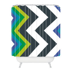 DENY Designs - Karen Harris Modernity Galaxy Cool Chevron Shower Curtain - Rub-a-dub-dub, there are chevrons around your tub! Bath time gets a bold bolt of lightning in eye-popping color and pattern custom printed on woven polyester.