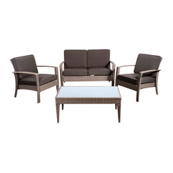International Home Miami - Atlantic Corfu Deluxe 4 Piece Wicker Conversation Set Grey w/ Grey Cushions - Corfu Deluxe 4 Piece Wicker Conversation Set Grey with Grey Cushions belongs to Atlantic Collection by International Home Miami Great quality, stylish design patio sets, made of aluminum and synthetic wicker. Polyester cushion with water repellant treatment. Enjoy your patio with elegance all year round with the wonderful Atlantic outdoor collection.  Armchair (2), Loveseat (1), Coffee Table (1)