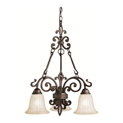 Kichler - Kichler Wilton Three Light Carre Bronze Down Chandelier - 2088CZ - This Three Light Down Chandelier is part of the Wilton Collection and has a Carre Bronze Finish.