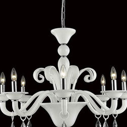 Elegant Lighting - Elegant Lighting 7868D36WH/RC Muse 8 Light Chandeliers in White - 7868 Muse Collection Hanging Fixture D36in H28in Lt:8 White Finish (Royal Cut Crystals)