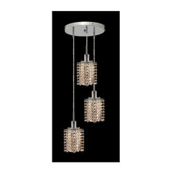 Elegant Lighting - Mini Golden Teak Crystal Pendant w 3 Lights in Chrome (Royal Cut) - Choose Crystal: Royal Cut. 3 ft. Chain/Wire Included. Bulbs not included. Crystal Color: Golden Teak (Smoky). Chrome finish. Number of Bulbs: 3. Bulb Type: GU10. Bulb Wattage: 55. Max Wattage: 165. Voltage: 110V-125V. Assembly required. Meets UL & ULC Standards: Yes. 9 in. D x 8 to 48 in. H (9lbs.)Description of Crystal trim:Royal Cut, a combination of high quality lead free machine cut and machine polished crystals & full-lead machined-cut crystals..SPECTRA Swarovski, this breed of crystal offers maximum optical quality and radiance. Machined cut and polished, a Swarovski technician¢s strict production demands are applied to this lead free, high quality crystal.Strass Swarovski is an exercise in technical perfection, Swarovski ELEMENTS crystal meets all standards of perfection. It is original, flawless and brilliant, possessing lead oxide in excess of 39%. Made in Austria, each facet is perfectly cut and polished by machine to maintain optical purity and consistency. An invisible coating is applied at the end of the process to make the crystal easier to clean. While available in clear it can be specially ordered in a variety of colors.Not all trims are available on all models.