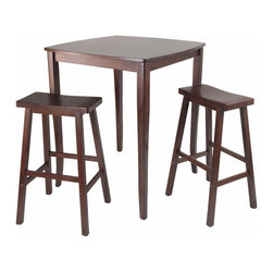 """Winsome - 3pc Inglewood High/Pub Dining Table with Saddle Stool - 3pc Set comes with Inglewood High Table features Curved Table Top with flare legs. Constructed from Solidwood in Antique Walnut Finish. Saddle Seat Stool complete the set. Perfect for any kitchen.; Inglewood Collection; Finish: Antique Walnut; Material: Solid wood; Assembly Required?: Yes; Weight: 59 lbs.; Dimensions: Table: 33.86""""L x 33.86""""W x 38.9""""H; Stool: 17.91""""L x 15.79""""W x 28.86""""H"""