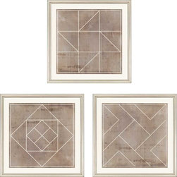 """Paragon Decor - Geometric II, Set of 3 Artwork - Liven up those boring walls with this dynamic set of 3, """"Geometric II."""" Each piece in this set features a geometric pattern of clean white lines atop an antiqued cement-colored background. Each piece has its own unique composition, but the set finds its cohesion in its shared style and color scheme. This set can be displayed alone, but looks best with its sister sets, """"Geometric I"""" and """"Geometric III,"""" which are also both sets of 3. Each piece is surrounded by an off-white matte and placed within a simple frame. Each piece in this set measures 18 inches wide, 1 inch deep, and 18 inches high."""