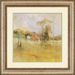 Home Decorators Collection - Country Dream Wall Art - The idyllic farm scene of our Country Dream Wall Art will add a touch of nostalgia and tradition to your entryway, living room or home office. A farmhouse and barn lie toward the center of the print, flanked by a plank fence and set back beyond a field of wildflowers. A few slim trees complete the welcoming image. Print of an original work by Michael Longo. Protected under glass with ivory mat. Frame in washed gold finish with gold inner fillet. Includes D-rings for hanging.