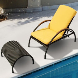 TOSH Furniture - Black Wicker Chaise Lounge with Footrest - TOS-GW3083SET - UV and weather resistance