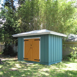 Board and Batten Shed - Custom 8'x12' board and batten shed with hipped 5-V crimp metal roof by Historic Shed