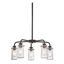 Ballard Designs - Ellison 5 Light Chandelier - Part vintage industrial. Part old-fashioned charm. Inspired by antique jars, clear seedy glass shades expose the filament bulbs within for a warm, welcome glow. Hang our 5-Light Chandelier over a table, kitchen island or in an entry.Ellison 5-Light Chandelier features:Works with a variety of d&#233or. Crafted of metal. Pair with our Vintage Light Bulb LI059 (sold separately).
