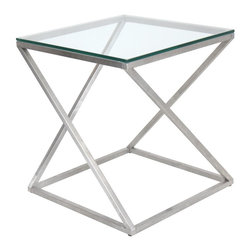 Lumisource - 4Z Side Table - Create an artful appeal in your living space with the 4Z side table. An intricately twisted chrome base supports an elegant glass table top providing function to this visually alluring piece. . 20.5 in. L x 20.5 in. W x 22.25 in. H