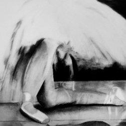"""Dance X"" (Original) By Cheri Homaee - Charcoal Image Of Ballerina Framed Under Glass."