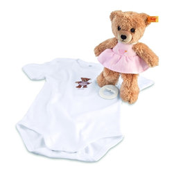 Steiff - Baby Pink Sleep Well Teddy Bear Music Box Gift Set - Perfect baby gift! Steiff Sleep Well Teddy Bear Music Box Gift Set includes a teddy bear made of plush for baby-soft skin. The teddy bear is machine washable without the music box. Steiff Sleep Well Teddy Bear Music Box Gift Set includes a short sleeve outfit made of 100% cotton. From Steiff of Germany.