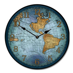 "Tyler - Map Clock 17th C. Blue, 30"" - Bright and Colorful"