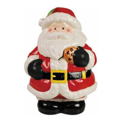 WL - 10.75 Inch Jolly Santa Eating a Cookie Painted Ceramic Cookie Jar - This gorgeous 10.75 Inch Jolly Santa Eating a Cookie Painted Ceramic Cookie Jar has the finest details and highest quality you will find anywhere! 10.75 Inch Jolly Santa Eating a Cookie Painted Ceramic Cookie Jar is truly remarkable.