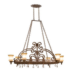 Kalco Lighting - Kalco Hamilton 6-Light Pot Rack - Shown in Tuscan Sun finish with Champagne Glass. The Hamilton Collection takes a modern approach to Tuscan design. The traditional scrolls and curves have been abstracted to add a sophisticated and fresh perspective to the warm tones of Kalco's exclusive finishes. Overall size is 60 in. W x 32 in. D x 23 in. H.