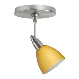 """Besa Lighting - Besa Lighting 1SP-1858VM Divi MR16 Halogen Spot Light - Divi has a classical bell shape that complements aesthetic, while also built for optimal illumination. Our Vanilla Matte glass is a light golden cased glass and opal inner layer. The orange glow has a low key harmonious display that exudes a warm mood. When lit the glass is vitalizing as well as stylish. The smooth satin finish on the outer layer is a result of an extensive etching process. This blown glass is handcrafted by a skilled artisan, utilizing century-old techniques passed down from generation to generation. The 12V spotlight fixture is equipped with a 1.5"""" long stem, swivel lampholder, quick connect jack, and a low profile flat monopoint canopy.Features:"""