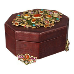 Jay Strongwater - Jay Strongwater Jacinta Octagonal Leather Box - Jay Strongwater Jacinta Octagonal Leather Box  -  Size: 7 inches wide x 4.5 inches tall  -  Color: Spice  -  Hand-Painted Enamel Over Metal  -  Hand-Set With Swarovski Crystals  -  Made In U.S.A. by Jay Strongwater Creations  -  Jay Strongwater Item Number: SDH7310 433