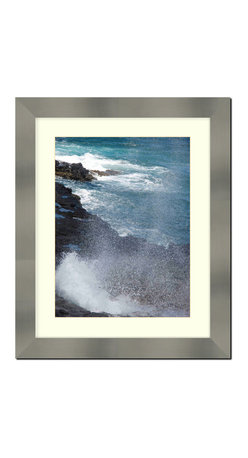 "Frames By Mail - Wall Picture Frame Stainless Steel finish with a white acid-free matte, 11x14 - Designed to match stainless steel appliances this 2"" wide picture frame has a stainless steel finish over a mdf frame.  The white matte, for an 8X10 picture, can be removed to accommodate a larger picture.  The frame includes regular plexi-glass (.098 thickness) foam core backing and can hang either horizontal or vertical."