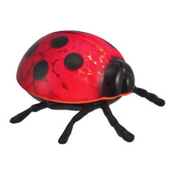 Red / Black Ladybug Stained Glass Accent Lamp - This incredibly cute ladybug accent lamp is made of bronze looking metal, with a red and black stained glass shell to give off soft light. The lamp is 3 1/2 inches tall, 6 inches long and 6 inches deep, making it a perfect accent for end tables and nightstands. It takes one nightlight style bulb (included) The shell removes easily, with one screw, for simple bulb replacement. It comes with a 6 foot light cord, containing the on/off switch. The lamp is brand new, never used or displayed. It`s a perfect gift for any ladybug lover. We have a very limited supply of these, so don`t miss out! Get yours now!