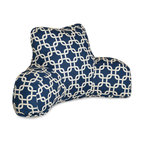 Navy Blue Links Reading Pillow - Now you can kick back and relax anywhere with this comfortable and supportive Reading Pillow. The Best Pillow Shoppe Navy Blue Links Reading Pillow provides back and head support that is perfect for many activities such as reading, watching TV or playing video games. Stuffed with a super loft recycled polyester fiber fill, the reading pillows zippered slipcover is woven from poly/cotton twill and zips off for easy cleaning.