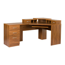 None - Reversible Corner Workcenter With Monitor Platform - This oak-finished corner work center maximizes office space for efficiency. Four drawers and four shelves are perfect for storing supplies and holding equipment,and the pull-out platform conveniently holds a keyboard for easy access.