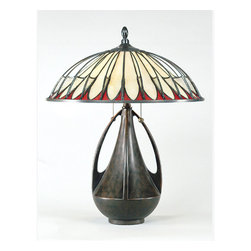 Quoizel - Quoizel Burnt Cinnamon Lamps - SKU: TF6855BC - The softly arched brass wire arms suspended over cream-colored opalescent glass with wine accents gives this cone-shaped shade the illusion of being dome-shaped. Clear, granite-textured glass connects all the elements giving a multi-dimensional, web-like feel. The Prairie Pottery base is inspired by the organic forms of Early American pottery, and has a rich, hand painted finish.