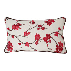 The Pillow Studio - Lumbar Pillow Cover with Piping, Embroidered Red and Pink Cherry Blossoms - I LOVE this pillow! It is both dramatic and delicate and the chocolate brown piping adds a custom touch.