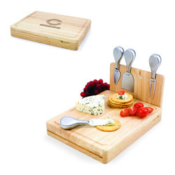 Picnic Time - Chicago Bears Asiago Folding Cutting Board With Tools in Natural Wood - The Asiago is a folding cutting board with tools that is another Picnic Time original design. This compact, fully-contained split-level cutting board is made of eco-friendly rubberwood. Lift up the top level of the board to reveal four brushed stainless steel cheese tools: a pointed-tipped cheese knife, cheese fork, cheese chisel knife, and blunt nosed hard cheese knife. The tools are magnetically secured to a wooden strip that lifts up so you can close the cutting board and display the tools. Designed with convenience in mind, the Asiago is great for home or anywhere the party takes you.; Decoration: Engraved; Includes: 4 brushed stainless steel cheese tools (1 pointed-tipped hard cheese knife, cheese fork, cheese chisel knife, and blunt nosed soft cheese knife