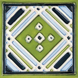 "Glass Tile Oasis - Aztec Green 6"" x 6"" Green 6"" x 6"" Deco Tiles Glossy Ceramic - All ceramic tiles are hand painted. Glazed thickness will vary from tile to tile, resulting in color variation. Hand-Painted Ceramic tiles will craze and crackle over time, which is intentional and a desired effect."