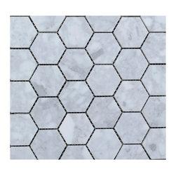 """White Carrara Honed Mosaic 2"""" Hexagon - White Carrara Honed Mosaic 2"""" Hexagon"""