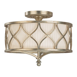 """Capital Lighting - Fifth Avenue Semi-Flush Fixture - Fifth Avenue 3-Light Semi-Flush Fixture.  Winter Gold finish with Box-Pleated Fabric Stay-Straight shade and Frosted Glass diffuser.  Takes three 60W bulbs.  UL Listed.  Rated for Dry locations.  Canopy: 6.1"""" round."""