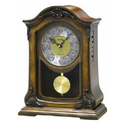 Rhythm Clocks - WSM Nice II Musical Clock CRJ732UR06 - The design of this clock offers an elegant touch to any room or a great finishing piece. The clock comes with the signature WSM movement. The movement allows you to play 16 well-known melodies, an hourly Westminster chime, a 4x4 quarterly chime, or 3 Christmas melodies. It also has an automatic night shut off feature. Quartz clock is battery operated.