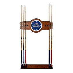 Trademark Global - Wall Billiard Cue Rack w Brigham Young Univer - Cue sticks not included. 8 Cue capacity. Furniture grade look. 2 pc. Medium oak veneered wood cue rack. 10 in. Dia. full color logo mirror. 30 in. L x 13 in. W x 4 in. H (15 lbs.)This Brigham Young University Officially Licensed Wood/Mirror Wall Cue Rack will fit in the decor of your billiard room.